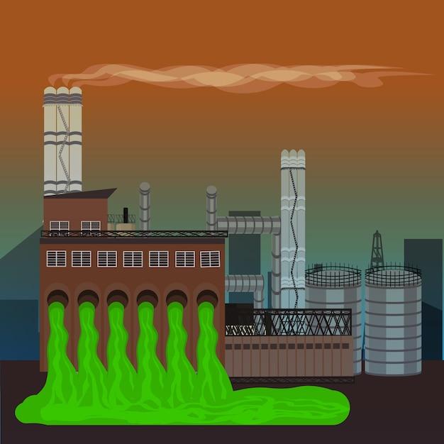 Usine de pollution de la nature Vecteur Premium