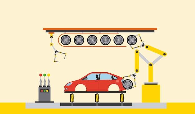 Usine de production automobile Vecteur Premium