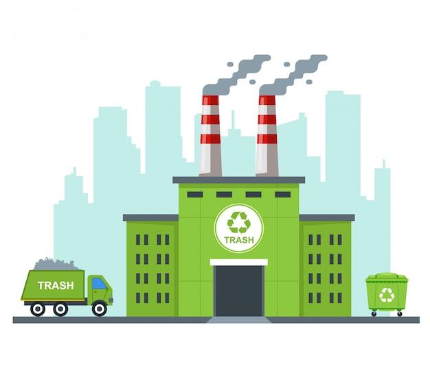 Usine De Recyclage Des Déchets éco. Transporter Des Déchets Sur Un Camion. Illustration Plate Vecteur Premium