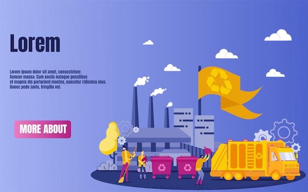 Usine de recyclage ou usine et transport. Vecteur Premium