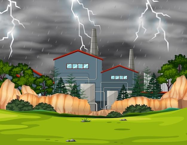 Usine en tempête dans un parc Vecteur gratuit