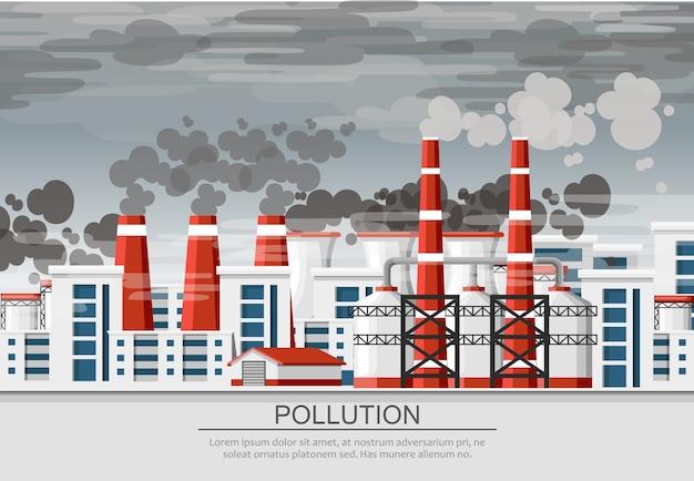 Usines Avec Conduits De Fumée. Problème De Pollution De L'environnement. Usine De Terre Polluent Avec Du Gaz Carbonique. Illustration. Illustration Avec Fond De Ciel Sale Gris. Vecteur Premium