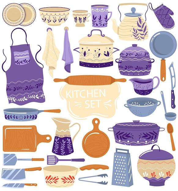 Ustensile De Cuisine Pour La Cuisson Des Illustrations Vectorielles Vecteur Premium