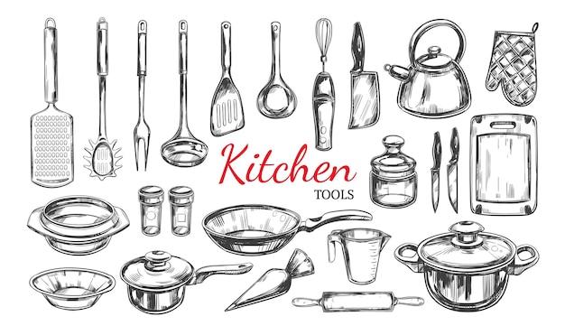 Ustensiles De Cuisine, Ensemble D'outils. Collection De Cuisine. Illustrations Dessinées à La Main Vecteur Premium