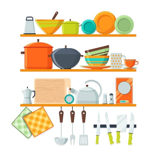 Ustensiles de cuisine et équipement de restaurant sur les étagères Vecteur Premium
