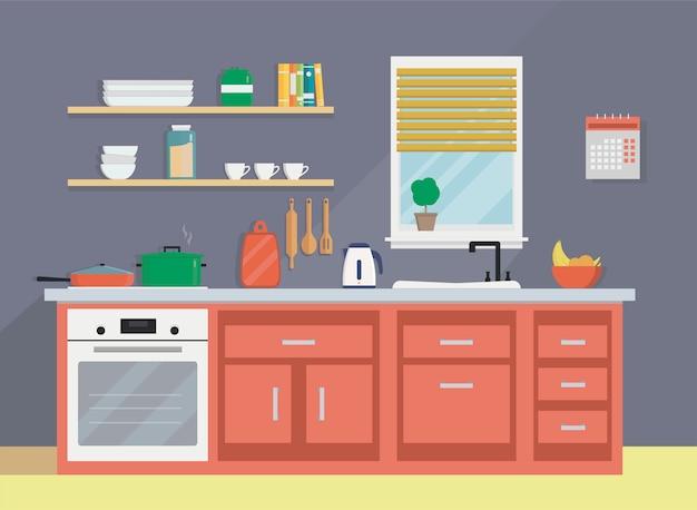 Ustensiles de cuisine, évier, bouilloire, vaisselle et mobilier. Vecteur Premium
