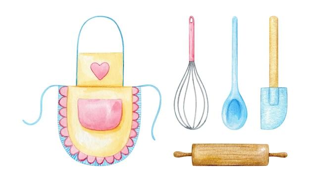 Ustensiles De Cuisine Et Fournitures De Cuisine En Rose Pastel Et Bleu Peint à L'aquarelle Vecteur Premium