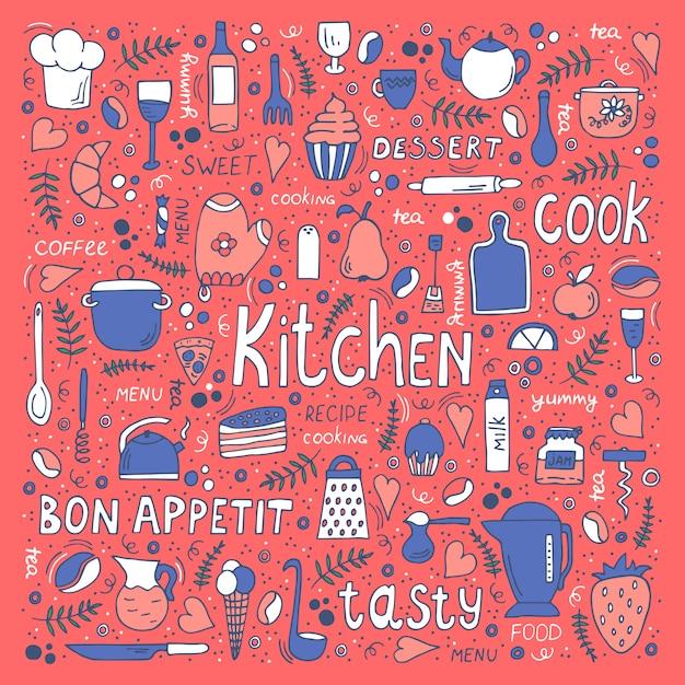 Ustensiles de cuisine et de la nourriture, symboles dessinés à la main et lettrage. Vecteur Premium