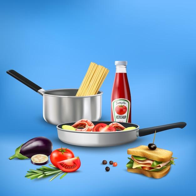 Ustensiles De Cuisine Réalistes Avec Des Produits Alimentaires Pâtes Légumes Composition De Poisson Sur Bleu Vecteur gratuit