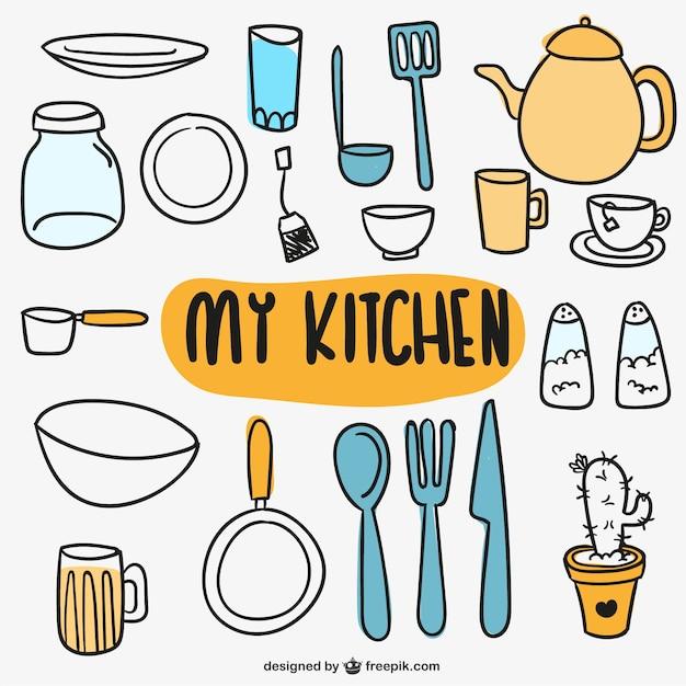 Ustensiles de cuisine doodles t l charger des vecteurs - Ustensiles de cuisine en p ...