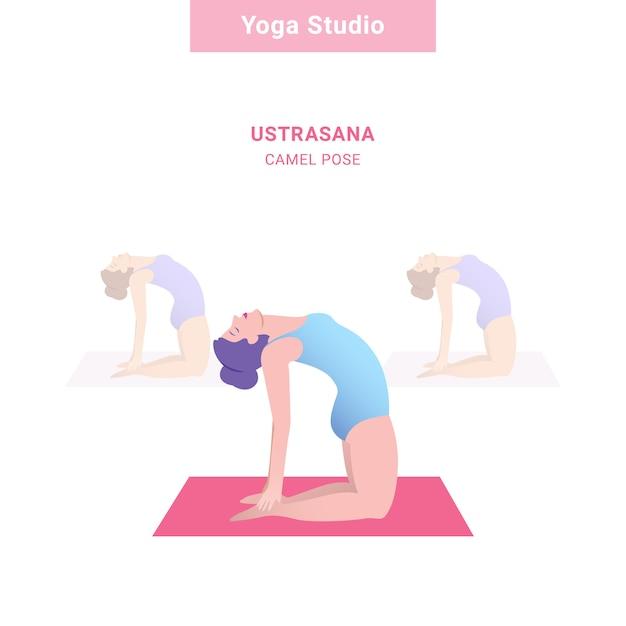Ustrasana, pose de chameau. studio de yoga. Vecteur Premium