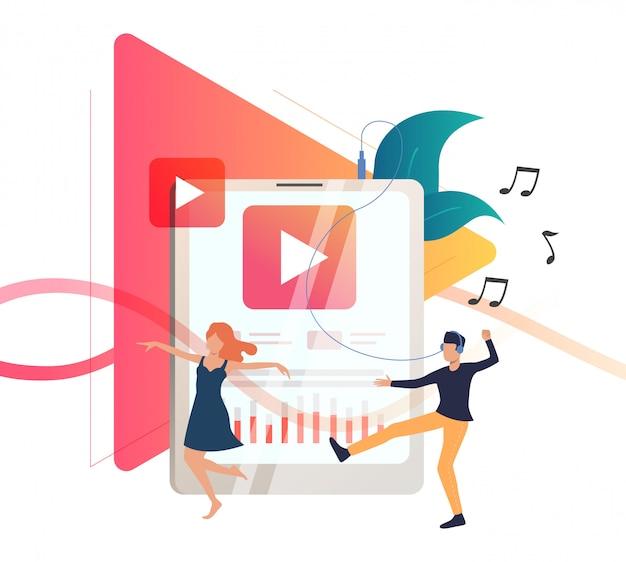 Utilisateurs de lecteurs multimédias écoutant de la musique Vecteur gratuit