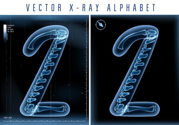 Utilisation De L'alphabet Transparent Aux Rayons X 3d Dans Le Logo Ou Le Texte. Numéro Deux 2 Vecteur Premium
