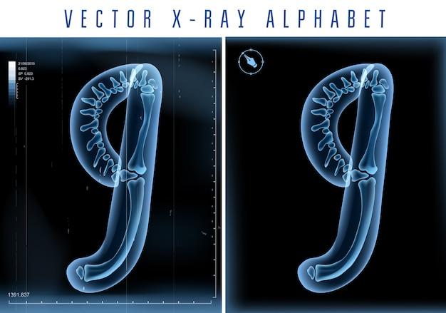 Utilisation De L'alphabet Transparent Aux Rayons X 3d Dans Le Logo Ou Le Texte. Numéro Neuf 9 Vecteur Premium