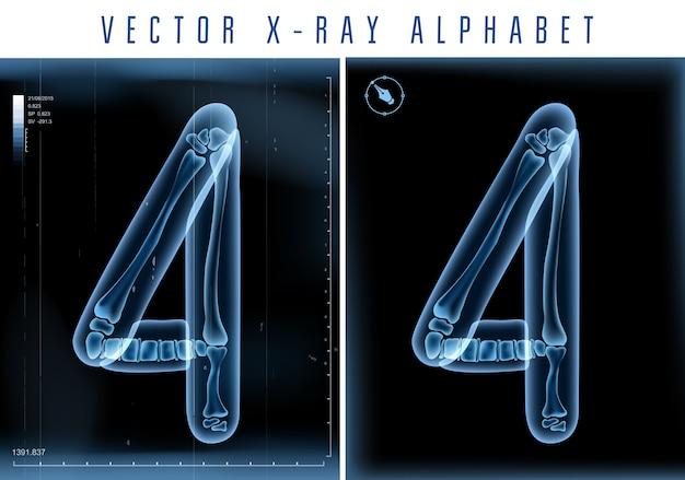 Utilisation De L'alphabet Transparent Aux Rayons X 3d Dans Le Logo Ou Le Texte. Numéro Quatre 4 Vecteur Premium