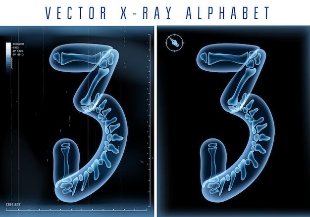 Utilisation De L'alphabet Transparent Aux Rayons X 3d Dans Le Logo Ou Le Texte. Numéro Trois 3 Vecteur Premium