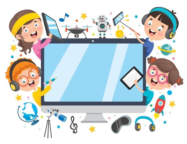 Utiliser La Technologie Pour L'éducation Ou Les Affaires Vecteur Premium