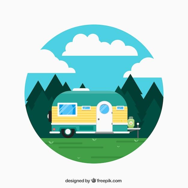 Vacances caravan Vecteur gratuit