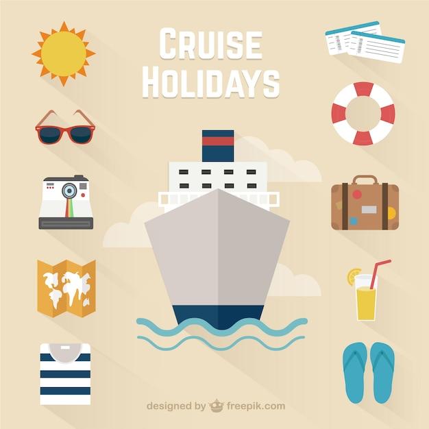 Vacances cruise icônes Vecteur gratuit