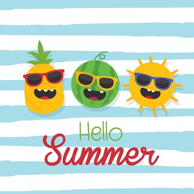 En vacances d'été, bonjour texte d'été avec le soleil, l'ananas, la pastèque et le fond de la vague Vecteur Premium
