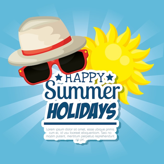 Vacances d'été définies icônes vector illustration design Vecteur Premium