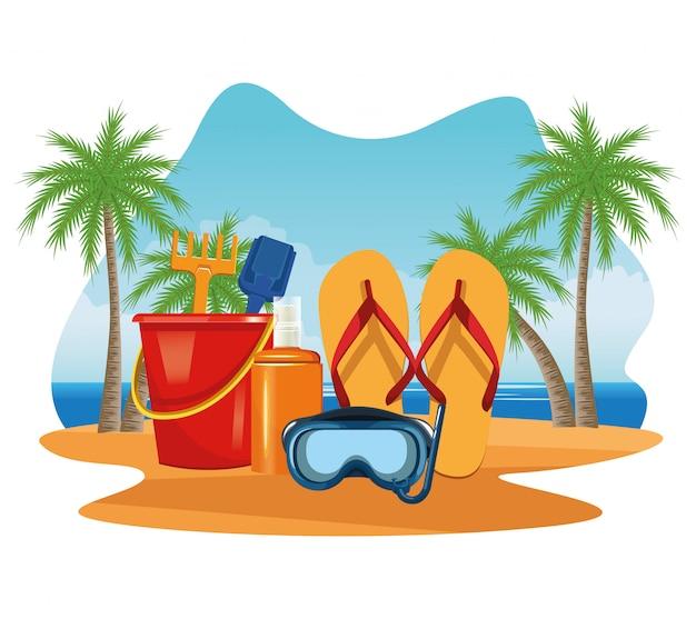 Vacances d'été et dessins animés à la plage. Vecteur gratuit