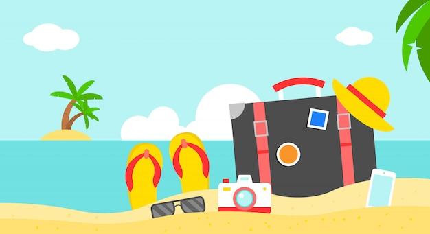 Vacances d'été, illustration vectorielle d'affiche plage été Vecteur Premium