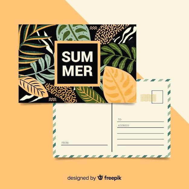 Vacances d'été laisse la carte postale Vecteur gratuit