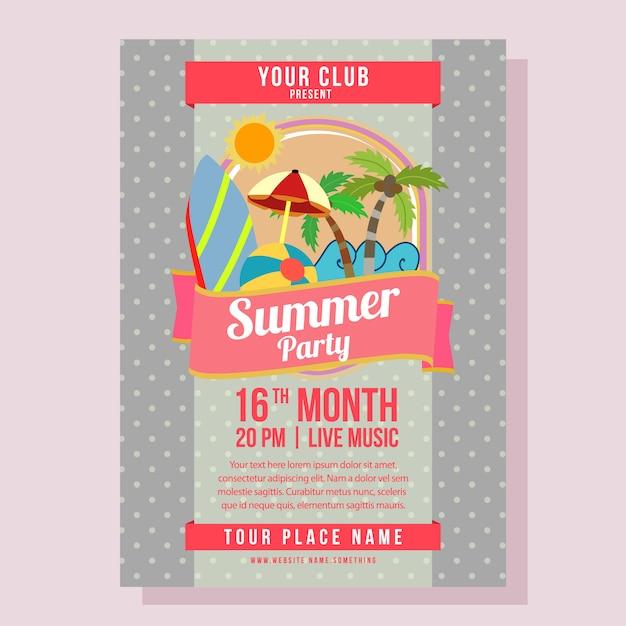 Vacances d'été modèle affiche fête avec illustration vectorielle de style plat plage Vecteur Premium