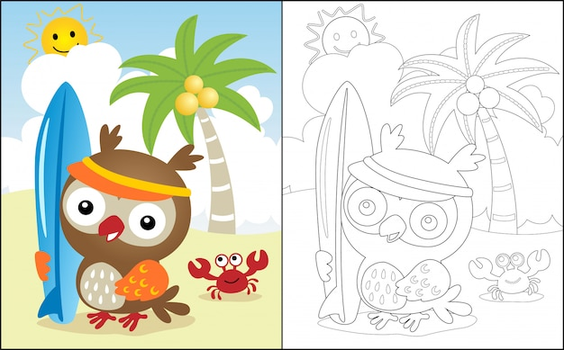 Vacances d'été à la plage avec caricature de hibou Vecteur Premium