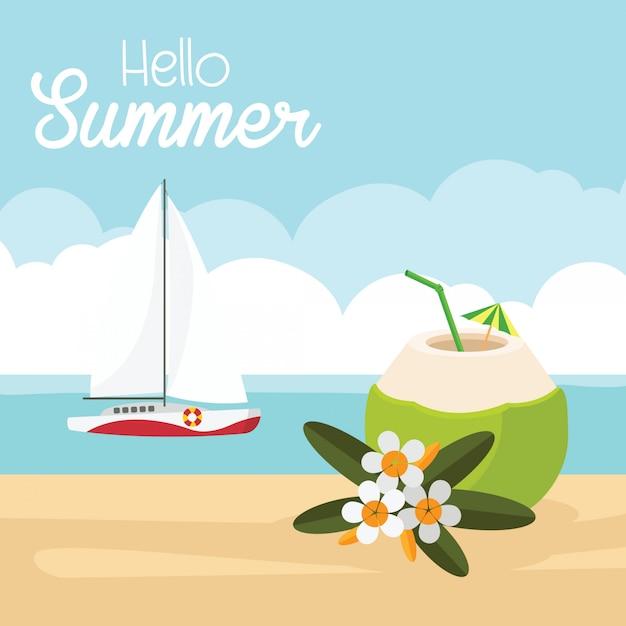 En vacances d'été, plage paradisiaque de la mer avec yachts et noix de coco avec boisson fraîche Vecteur Premium