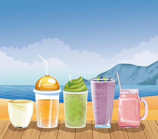 Vacances d'été et plage en style cartoon Vecteur gratuit