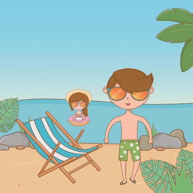 Vacances et été en plein air Vecteur gratuit