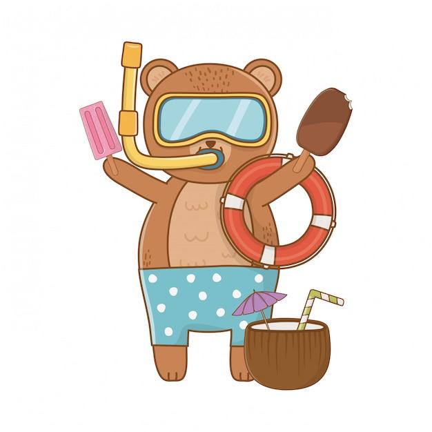 Vacances d'été se détendre dessin animé Vecteur gratuit