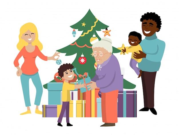 Vacances En Famille à L'amiable De Noël, Parent De Personnes De Caractère, Grand-parent Présente Boîte Cadeau Enfants Illustration Plate. Vecteur Premium