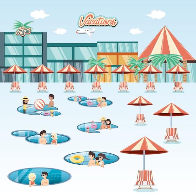 Vacances en famille dans la piscine flottante voyage vector illustration Vecteur Premium