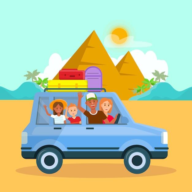 Vacances En Famille En Egypte Vector Travel Postcard. Vecteur Premium