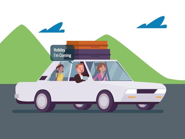 Vacances en famille en voiture Vecteur Premium