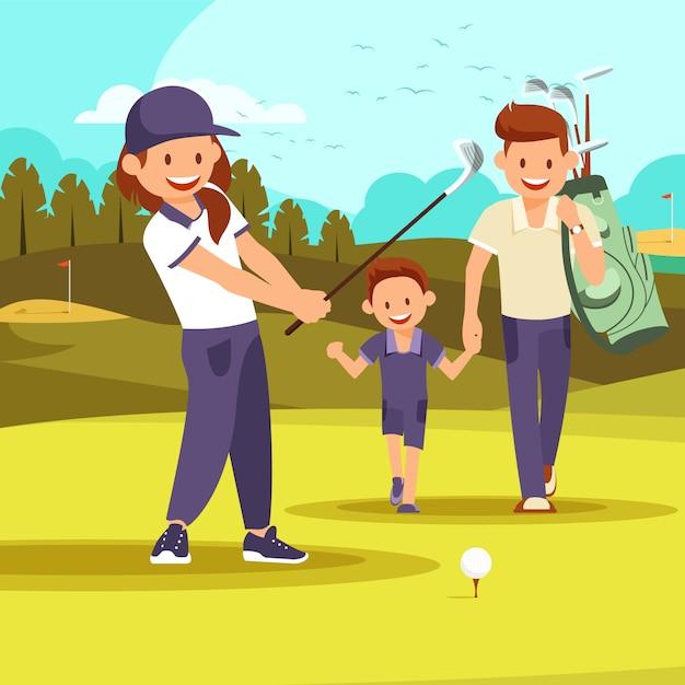 Vacances en famille Vecteur Premium