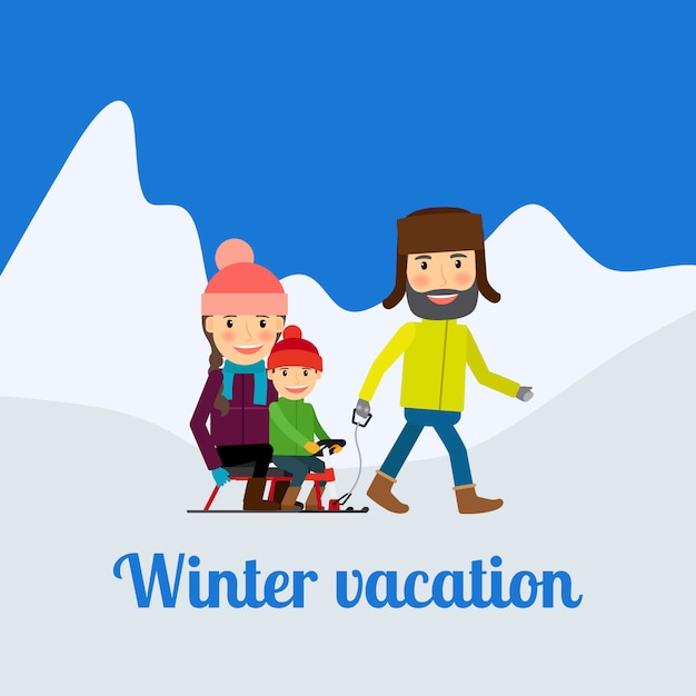 Vacances d'hiver Vecteur Premium