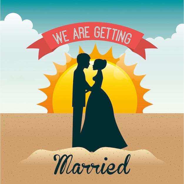Vacances de mariage Vecteur Premium