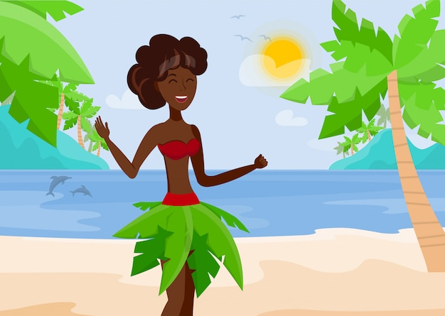 Vacances à paradise island vector illustration Vecteur Premium