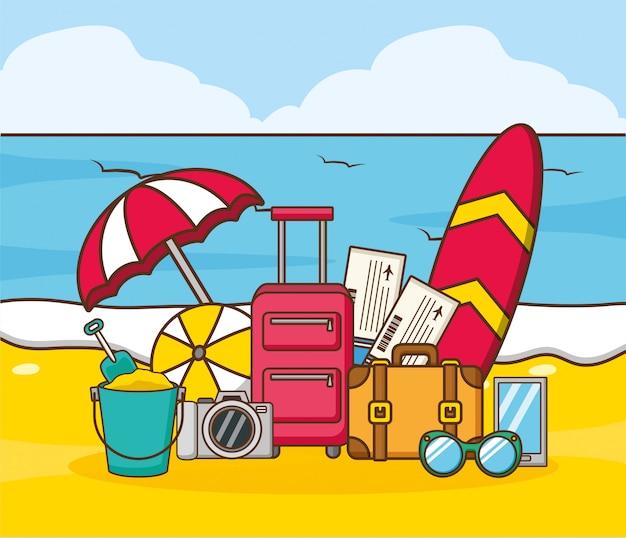 Vacances à La Plage Vecteur gratuit