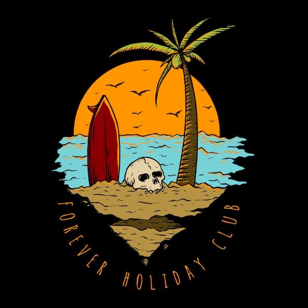 Vacances à la plage Vecteur Premium