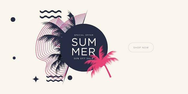 Vacances de la saison estivale avec des feuilles de noix de coco et des formes géométriques. Vecteur Premium