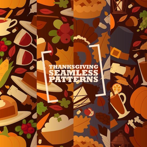 Vacances de thanksgiving ensemble de modèles sans couture avec illustration vectorielle de dinde et de fruits traditionnels, citrouille, pommes et champignons. Vecteur Premium