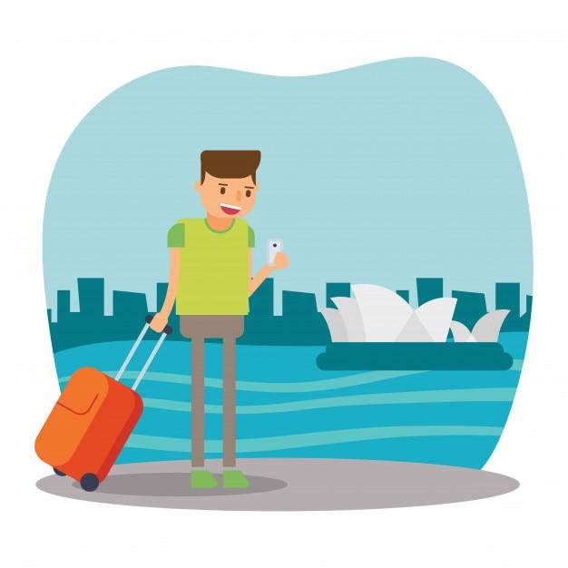 Vacances touristiques de voyageur mignon dans le - Voyageur dessin ...