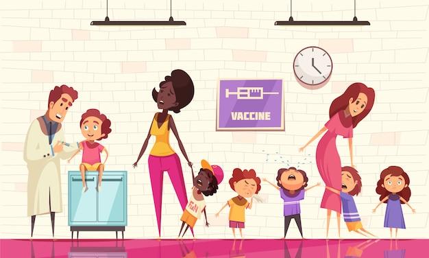 Vaccination Des Enfants Avec Un Pédiatre Tenant Une Seringue Et Des Enfants Qui Pleurent, Peur De L'injection Du Vaccin Vecteur gratuit