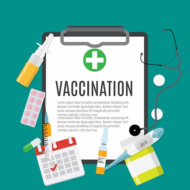Vaccination à Plat. Sensibilisation Médicale à La Grippe, Affiche Sur La Poliomyélite. Vecteur Premium