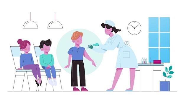 Vaccination Pour Les Enfants. Garçon Ayant Une Injection De Vaccin. Idée D'injection De Vaccin Pour Se Protéger De La Maladie. Traitement Médical Et Soins De Santé. Métaphore De La Vaccination. Vecteur Premium